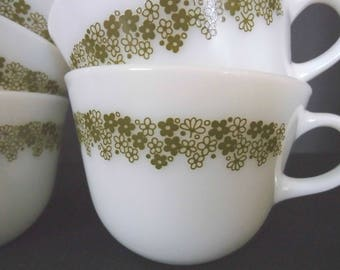 """Vintage Green Pyrex Corning Cffee/tea cups in """"Spring Blossoms floral pattern set of 5 Fast Daily Shaipping"""