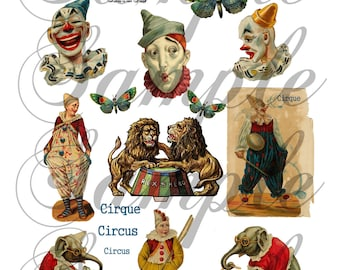 TiffanyJane-Circus-Clowns-Lions-ElePhanTs-Collage Sheet--Instant Download-for art tags embellishments paper art