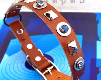 Caramel Brown Leather Cat Collar with Studs and Blue Crystals, EcoFriendly, Size to fit a 8-10in Neck, Handmade by Greenbelts in Seattle
