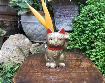 Small Distressed Japanese Porcelain Figurine 招き猫 Maneki Neko Beckoning Cat Good Luck Charm Vase Planter Okimono