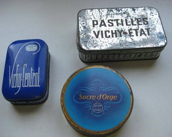 3 French tins from the famous spa of Vichy.