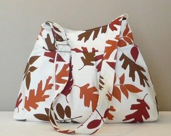 Messenger Bag, Adjustable strap ,Shoulder bag Firebrick Brown,Cream,Canvas with leaves...OAK...