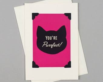 "Handmade Valentine's Card ""You're Purrfect"" in Vintage Style with Cat illustration"