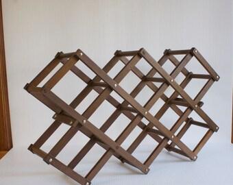 Vintage Wine Rack - Wooden Accordion Wine Rack