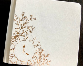 8″ X 8″ FINISHED COUNTRYSIDE COMFORT Album with Gold Foil Clock Cover – Just add photos.