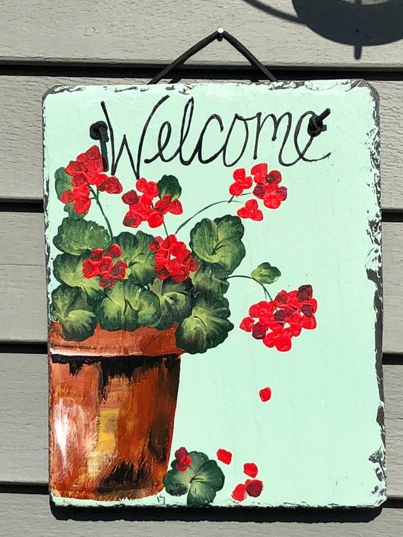 Mothers Day Gift- Red geraniums Welcome sign , welcome plaque, Spring Door hanger, Door hanging, Door decor, Gift for Mom, Mother's Day gift
