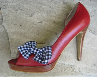 Shoe Clips - Black and White Gingham Bow Shoe Clips FREE SHIPPING