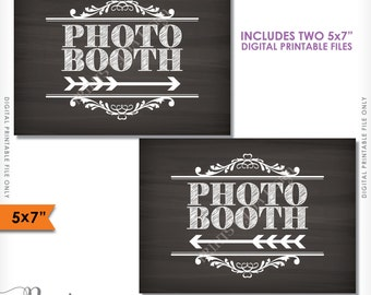 """Photobooth Directions, Point to Photobooth Sign, Right & Left Arrow to Photo Booth, 5x7"""" Chalkboard Style Printable Instant Download Signs"""