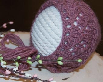 Hand Knit Newborn Bonnet/Dark Mauve/Photo Prop/Baby Alpaca Yarn