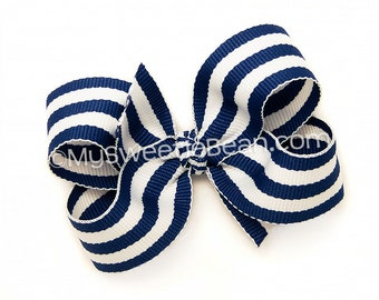 Royal Blue Striped Hair Bow, 3 inch Boutique Bow, Dark Royal Blue, Back To School Uniform, Preppy Stripe Bow for Baby Toddler Girls Hairbow