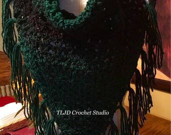 SALE!!! V-Stitch Triangle Cowl with button Enclosure in green and black made in very soft yarn.