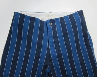 Beams Boy Yarn Dyed Blue Stripe Shorts Japan