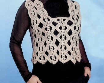 Crochet top PATTERN, casual crochet top pattern, crochet vest, CHART and basic instructions in English, charts are not interpreted in words!