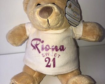 Sweet 21st gift, 21st birthday bear, 21st birthday, 18th birthday bear, personalised birthday gift, personalised birthday bear, 18th gift