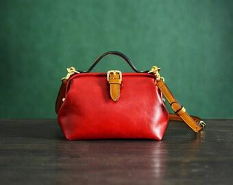 Mooshi Handmade Four Seasons Red Leather Clutches Shoulder Handbag