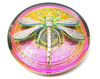 LG Czech glass button, Dragonfly, pink green silver, 31mm.