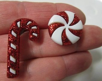 FREE SHIPPING! Candy Cane or Peppermint Glitter Stud Earrings-Christmas Earrings
