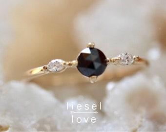 14K Black Diamond Side Marquise Ring
