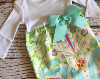 Newborn Layette, Infant Gown, Baby Gown - Kumari Garden - Easter - Spring - Teal Aqua Pink Cream