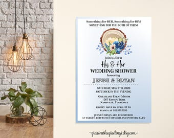 Couples Wedding Shower Invitation, Bridal Shower, Jack & Jill Shower, Dusty Blue, Garden Shower, His and Hers, Printable, Digital, Invite