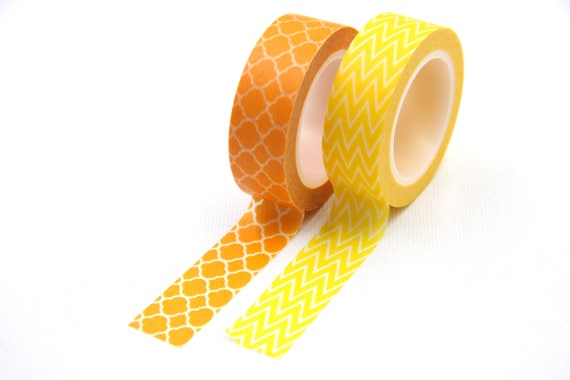 Yellow Moroccan Washi Tape Geometric Chevron Pattern, Decorative ...