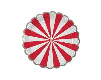 Toot Sweet Red Striped Paper Plates, Small, Meri Meri, Party Decor, Party Supplies, Tableware, Circus, Carnival, Party Theme