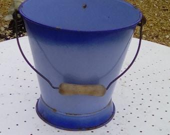 French enamel pail, blue enamelware bucket.