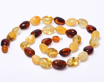 Multicoloured Genuine Baltic Amber Necklace