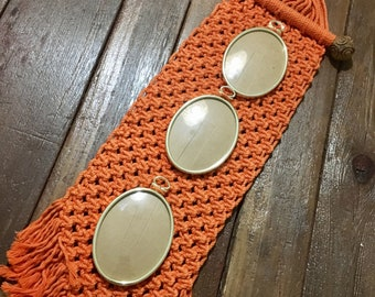Vintage macrame wall hanging orange picture frames carved wood