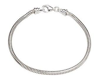 Sterling Silver Charm Bracelet, Custom Bead Bracelet