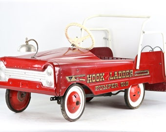 Vintage Pedal Car, Fire Truck Pedal Car, 1950's Fire Engine Pedal Car, 1950's Pedal Car, Hook And Ladder Pumper 519 Pedal Car