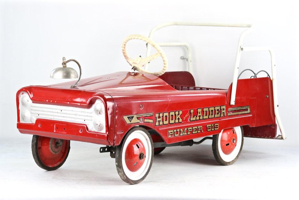 Fire Truck Pedal Car: Vintage Pedal Car Fire Truck Pedal Car 1950's Fire