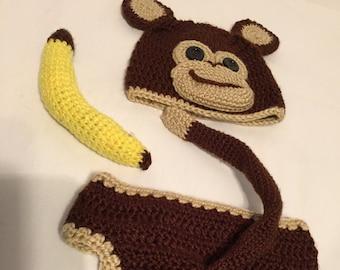 Crochet Newborn Monkey Outfit