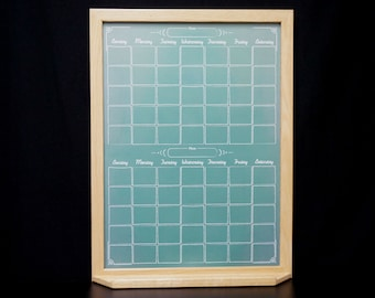 "Two Month Green ""Chalkboard"" Calendar Whiteboard - Wood Framed Monthly Dry Erase Calendar - Command Center Dry Erase Board Wall Calendar"