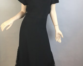 Vintage 40s Long Bias Cut Dress// Vintage Maxi 40s Dress// Formal Crepe Evening Gown