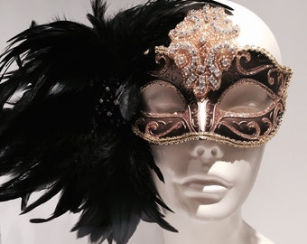 Black Masquerade Mask- Custom Mask- Save Venice -Halloween Mardi Gras Mask- Masquerade Mask- Costume Party Mask- Masquerade Ball- New Years