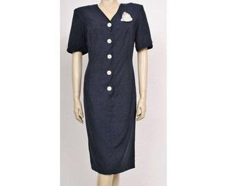 ORIGINAL 80's, Vintage Navy Blue Nautical Front Buttonned Dress, Blue Shift Dress, Nautical Dress, Vintage Dress, Tea party Dress, Day Dress