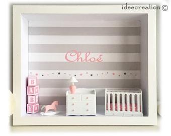 Cadre prénom bebe, vitrine miniature naissance, chambre bebe, modèle rose