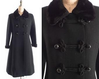 FREE US SHIP : Vintage 60s Coat // 1960s Coat // Russian Military Coat // Russian Princess Coat // Black Winter Coat - sz S