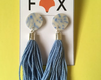 Polymer Clay Earrings with Tassel