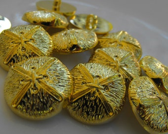 """23 Gold Shoe Lace Shank Round Buttons Size 15/16"""""""