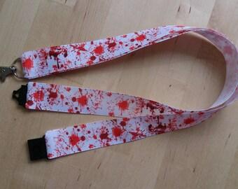 Blood Splatter Ribbon Lanyard / ID Badge Holder