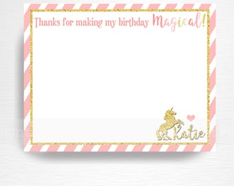Unicorn Birthday Party Printable Thank You Notes YOU Print Pastel Pink Gold