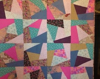 Crazy quilt, Scrap quilt, Large Lap quilt, Pink, Blue, Turquoise, Tan, Girls Quilt, Approximately 51 x 76 inches,