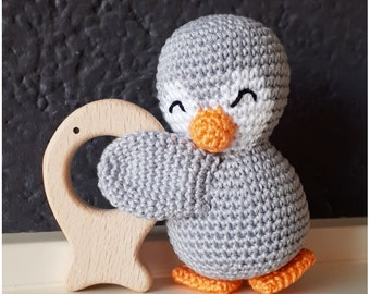 Ready to ship! Handmade baby rattle, little penguin with wooden fish, crochet, perfect babyshower gift!