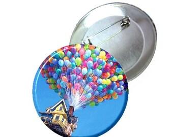 """1"""" 1.25"""" 2.25"""" Pinback - Disney Pixars UP Balloon House Image"""