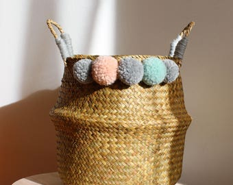 Sea Grass basket with handles with 10 pompoms storage basket Nature Children's room