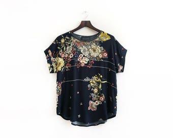 Black Floral Top, Black Floral Blouse, Black Summer Top, Floral Print Shirt, Loose Summer Blouse, Unique Tops for Women, Sizes: XS S M L