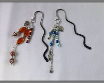 Bookmark, Beaded bookmark, Mixed bead bookmarks, Blue and silver, Brown and peach, Teachers gift.