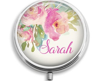 Personalized Name Floral Watercolor Pill Box Case Trinket Box Vitamin Holder Medicine Box Mint Tin Gifts For Her